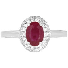 0.78 Carat Oval Ruby and 0.48 Carat Diamond Ring