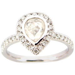 0.78 Carat Rose Cut Pear White Diamond Ring