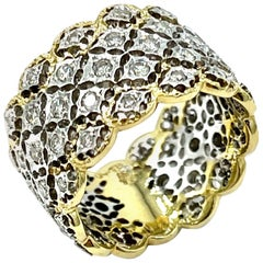 0.78 Carat Round Brilliant Diamond and 18 Carat White and Yellow Gold Band Ring