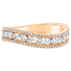 0.78 Carat Round Diamond Curved Fashion Ring