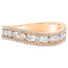 Roman Malakov, 0.78 Carat Round Diamond Curved Fashion Ring