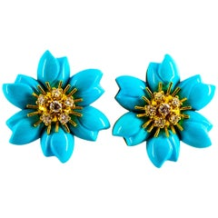 0.78 Carat White Diamond Turquoise Yellow Gold Dangle Clip-On Flowers Earrings