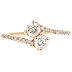 0.79 Carat Diamond 14 Karat Yellow Gold Two-Stone Ring