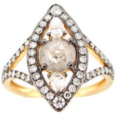 0.79 Carat Rose Cut Grey or White Diamond Cocktail Ring