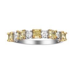 0.79 Carat Yellow Diamond 14 Karat Two-Tone Gold Band Ring