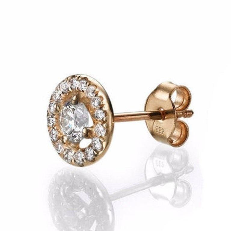 Round Cut 0.8 Carat 14 Karat Rose Gold Round Diamond Earrings, Diamond Stud Earrings For Sale