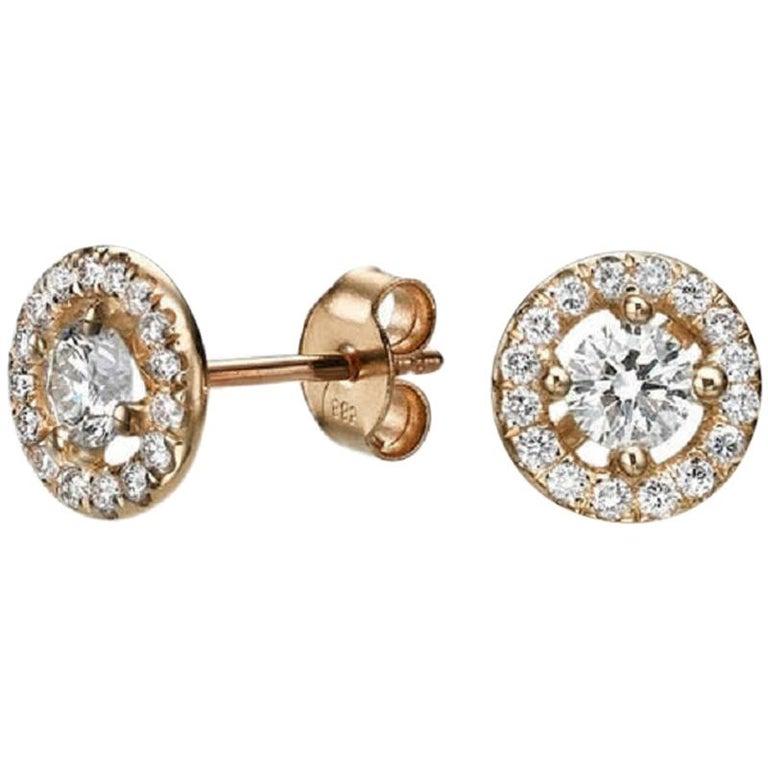 0.8 Carat 14 Karat Rose Gold Round Diamond Earrings, Diamond Stud Earrings For Sale