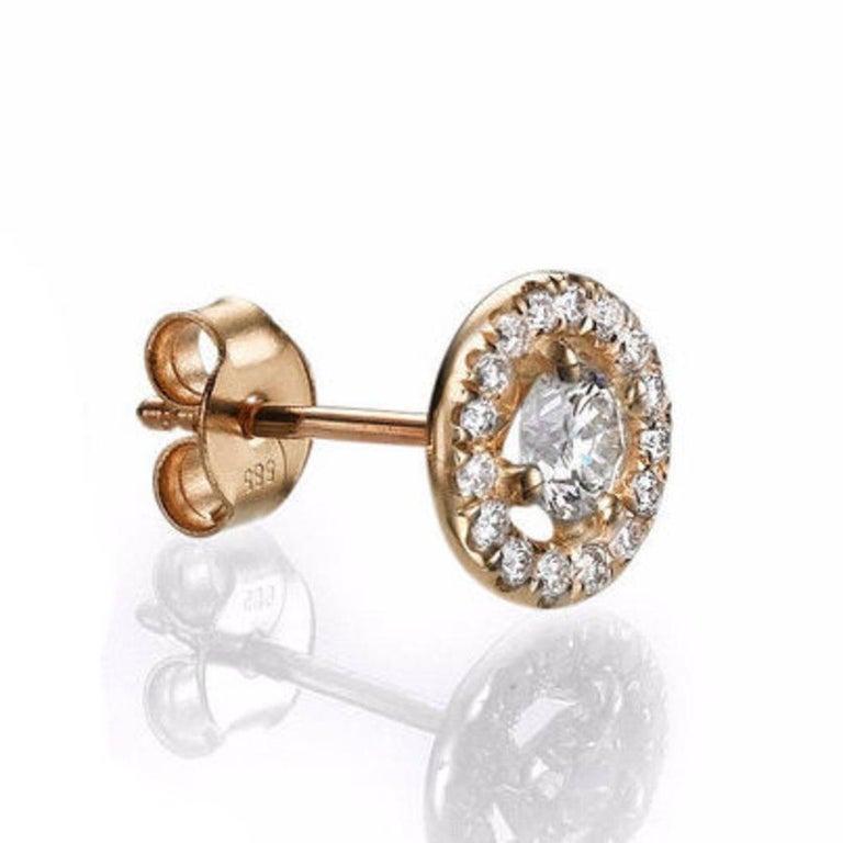 Art Deco 0.8 Carat 14 Karat Rose Gold Round Diamond Earrings, Diamond Stud Earrings For Sale