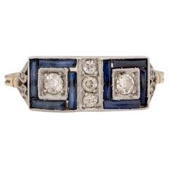 .08 Carat Art Deco Diamond 18 Karat Yellow Gold Engagement Ring