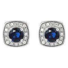 0.8 Carat Blue Sapphire and Diamond Earring in 18 Karat White Gold