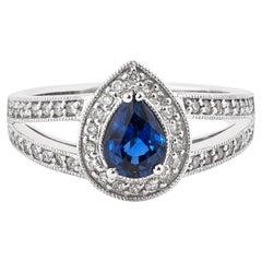 0.8 Carat Blue Sapphire and White Diamond Ring in 14 Karat White Gold
