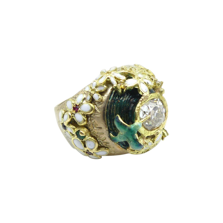 0.8 Carat Diamond Fire Enamels Yellow Gold Ring