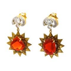 0.8 Carat Diamonds 4.71 Carat 4.2 Carat Fire Opals 18 Karat Gold Earrings
