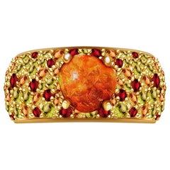 0.8 Carat Mexican Fair Opal Peridot Citrine Garnet 14 Karat Yellow Gold Ring