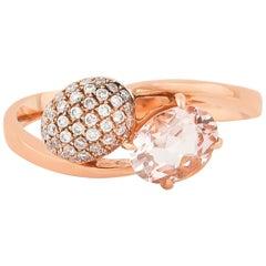 0.8 Carat Morganite and Diamond Ring in 18 Karat Rose Gold