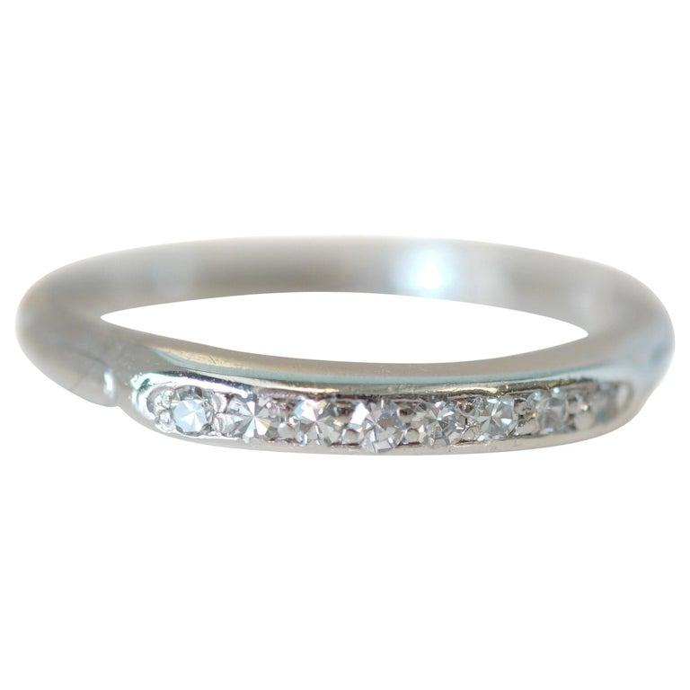 .08 Carat Platinum Diamond 8-Stone Wedding Band, circa 1930s For Sale