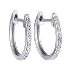 .08 Carat Small White Gold Diamond Hoop Earrings
