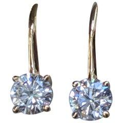 0.80 Carat 18 Karat Yellow Gold Round Diamond Earrings, Lever Back Earrings