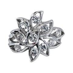 0.80 Carat Abstract Openwork Leafy Diamond Ring in 18 Karat White Gold