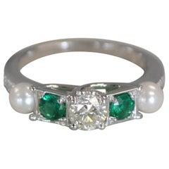 0.80 Carat Approximate Diamond, Emerald, Pearl Ring, Ben Dannie Design