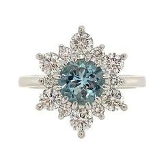 0.80 Carat Aquamarine and Diamond Ring