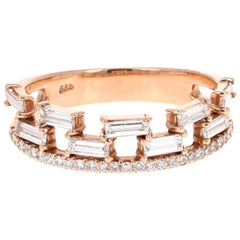 0.80 Carat Baguette and Round Cut Diamond Band 14 Karat Rose Gold
