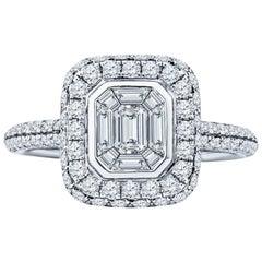 0.80 Carat Baguette and Round Diamond 18 Karat White Gold Engagement Ring