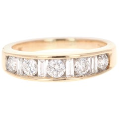 0.80 Carat Baguette Round Diamond 14 Karat Yellow Gold Band
