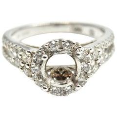 0.80 Carat Diamond 18 Karat White Gold Gregg Ruth Semi-Mount Engagement Ring