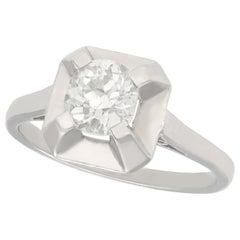 0.80 Carat Diamond and Platinum Solitaire Ring