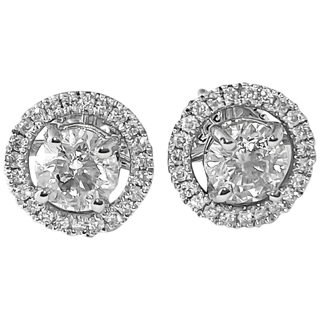 0.80 Carat Diamond and White Gold Jacket Stud Earrings