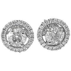 0.80 Carat Diamond and White Gold Jacket Stud Earrings