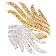0.80 Carat Fancy Colored Diamond Cocktail Ring 14 Karat Yellow Gold