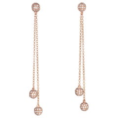 0.80 Carat Diamond Orb Earrings 14 Karat Gold Long Dangle Estate Fine Jewelry