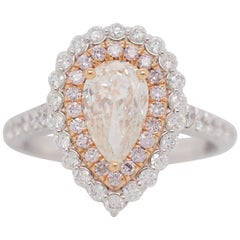 0.80 Carat Diamond Pear Double Halo Engagement Ring with Natural Pink Diamonds