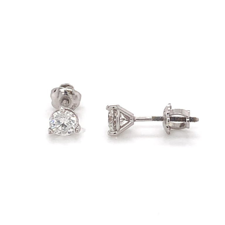 Diamond Stud Earrings made with real/natural brilliant cut diamonds. Total Diamond Weight: 0.80cts. Diamond Quantity: 2 round diamonds. Color: F-G. Clarity: VS2. Mounted on 18kt white gold screw back setting.