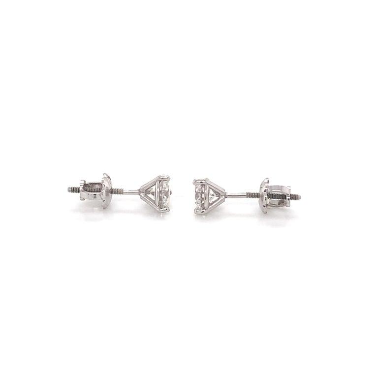 Brilliant Cut 0.80 Carat Diamond Stud Earrings For Sale