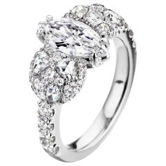 0.80 Carat E Loupe Clean Marquise Shape Diamond Engagement Ring