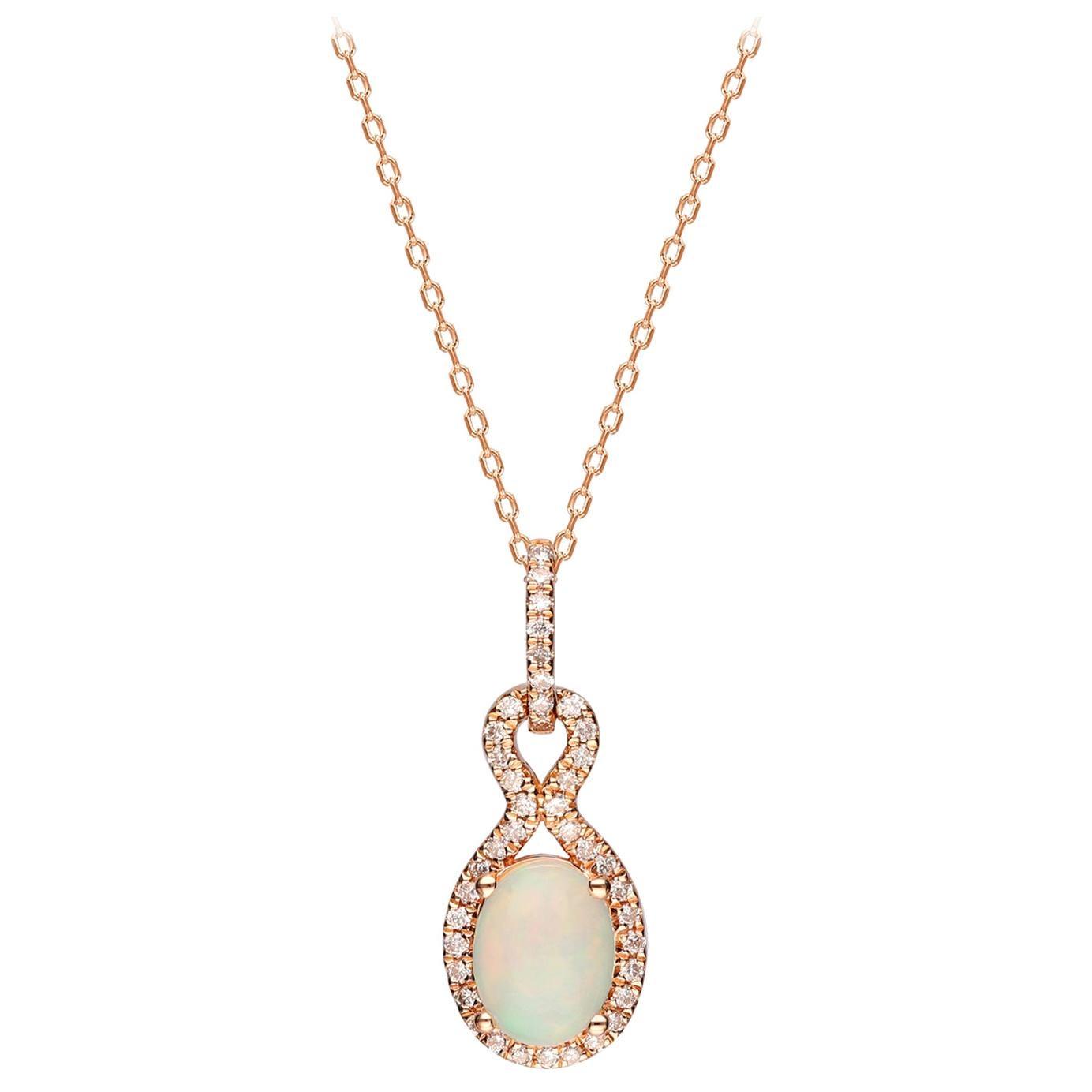 0.80 Carat Ethiopian Opal and Diamond 14 Karat Rose Gold Pendant