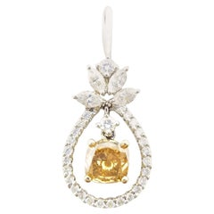 0.80 Carat Fancy Cushion and White Diamonds Pendant GIA 14 Karat Gold