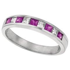 0.80 Carat Natural Diamond and Ruby Ring Band 14 Karat White Gold