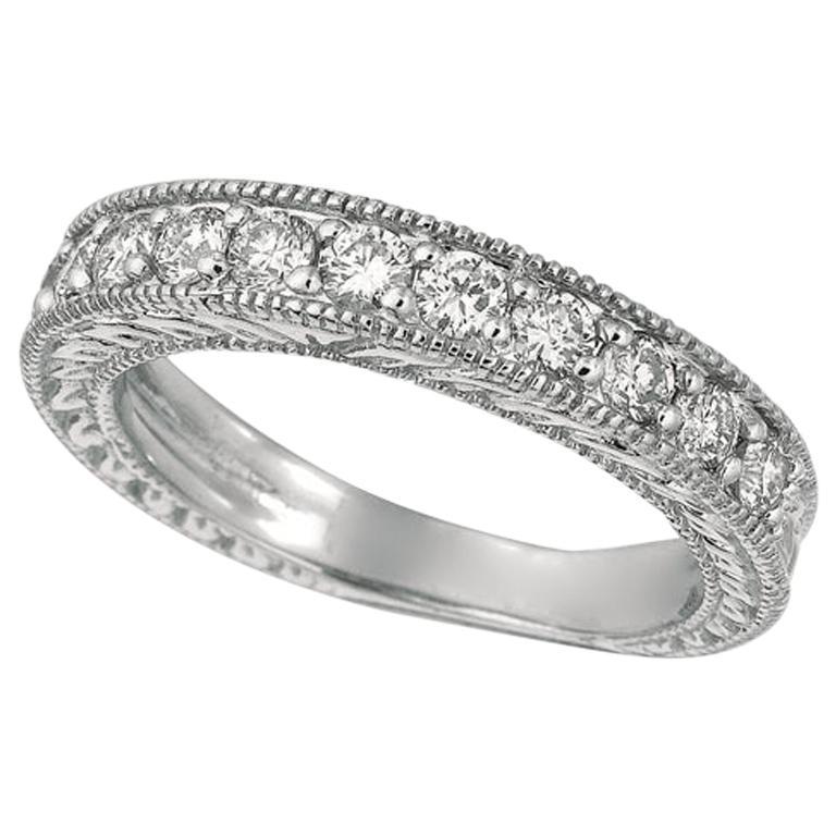 0.80 Carat Natural Diamond Stack Ring Band G SI 14 Karat White Gold