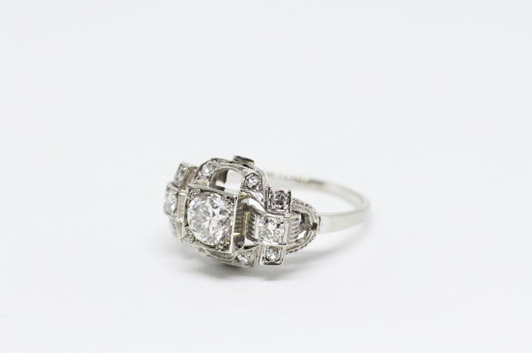 Old European Cut 0.80 Carat Old Cut Diamond Art Deco Platinum Engagement Ring, circa 1930s For Sale