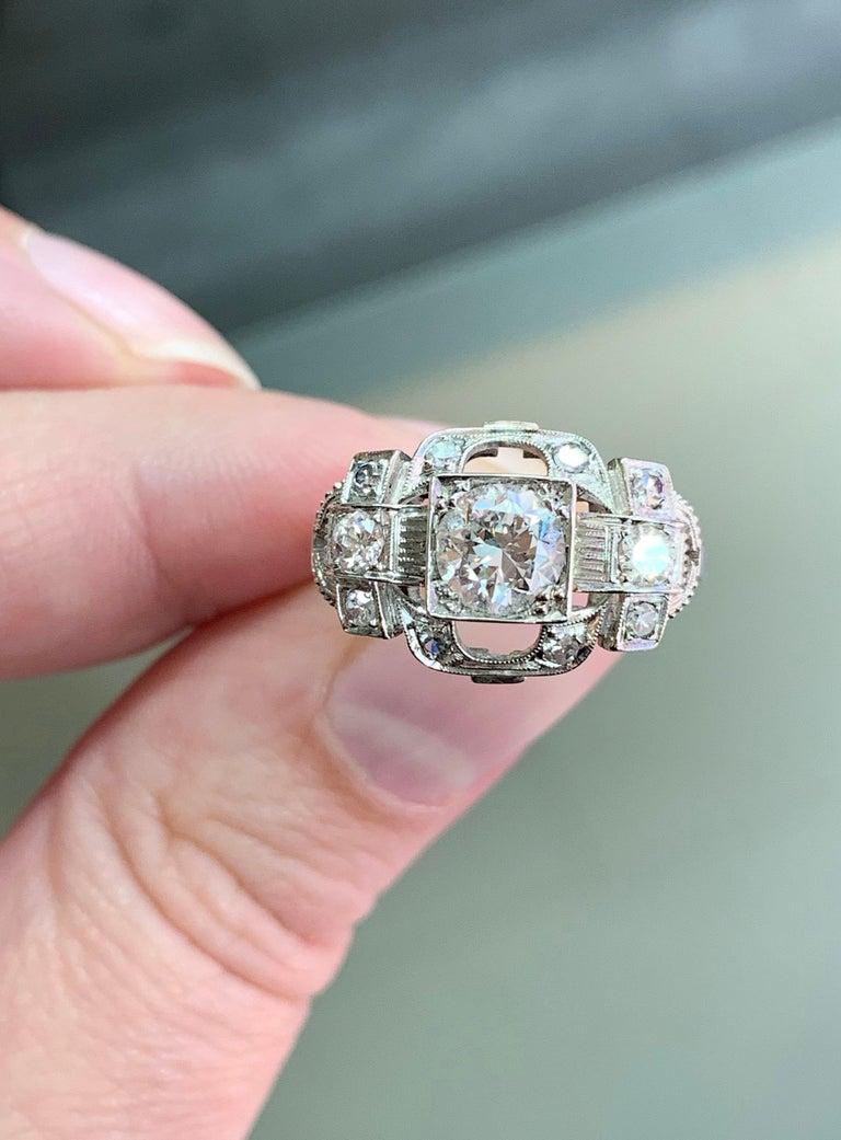 Women's 0.80 Carat Old Cut Diamond Art Deco Platinum Engagement Ring, circa 1930s For Sale