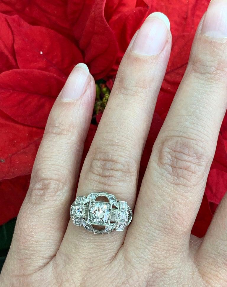 0.80 Carat Old Cut Diamond Art Deco Platinum Engagement Ring, circa 1930s For Sale 2