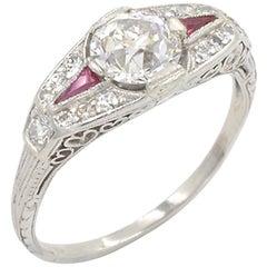 0.80 Carat Old European Cut Diamond and Ruby Art Deco Platinum Ring