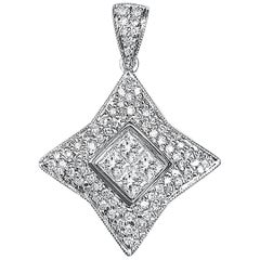 "0.80 Carat Princess-Cut Diamond and 18 Karat White Gold ""Star"" Pendant"