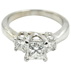 0.80 Carat Princess Cut Diamond Platinum Three-Stone Engagement Ring