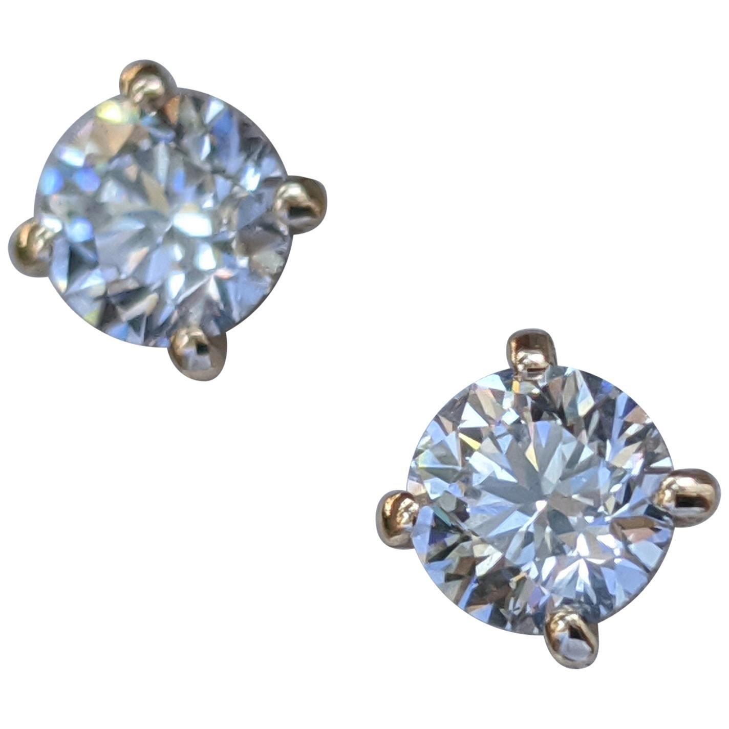 0.80 Carat Round Diamond Stud Earrings, 14 Karat Yellow Gold Earring Studs