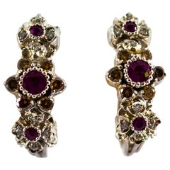 0.80 Carat Ruby 0.90 Carat White Diamond White Gold Lever-Back Dangle Earrings
